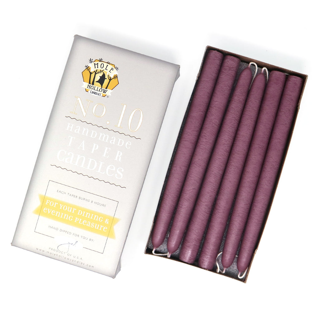 "10"" Dripless Taper Candles - Unscented Mauve - Mole Hollow Candles"