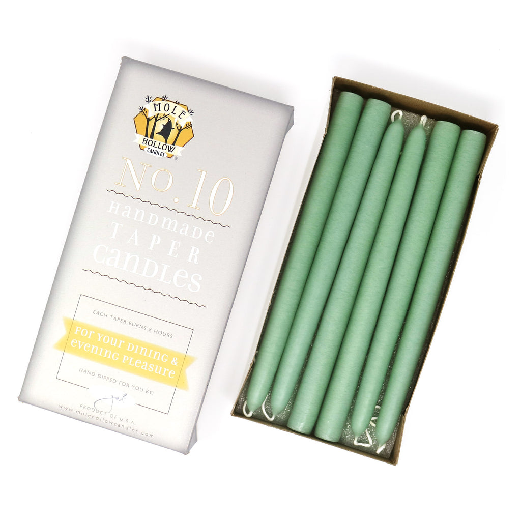 "10"" Dripless Taper Candles - Unscented Misty Green - Mole Hollow Candles"