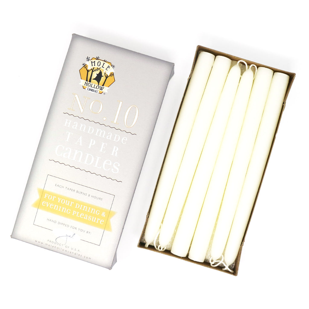 "10"" Dripless Taper Candles - Unscented Shell White - Mole Hollow Candles"
