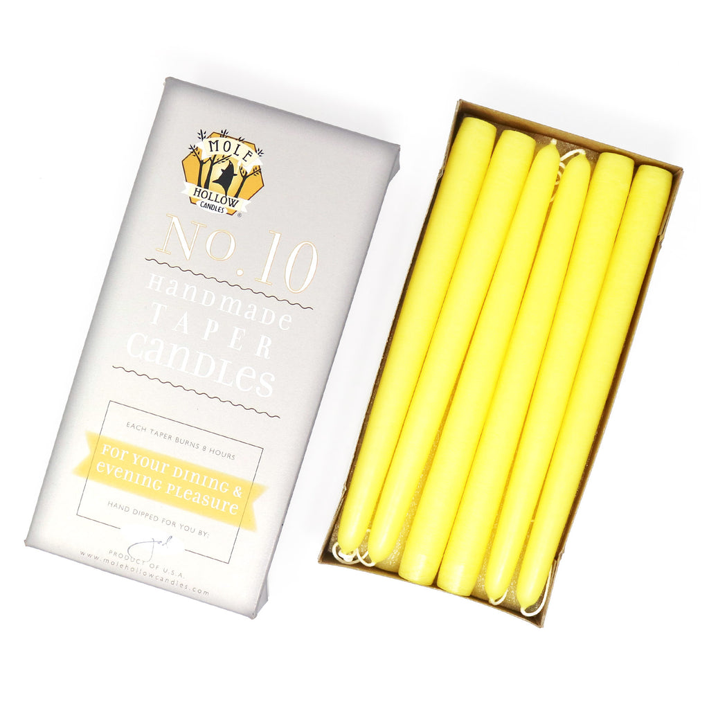 "10"" Dripless Taper Candles - Unscented Sun Yellow - Mole Hollow Candles"