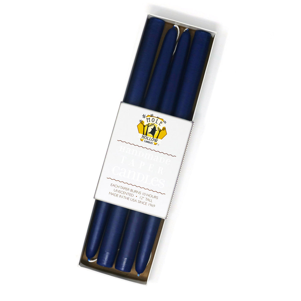 "Load image into Gallery viewer, 12"" Dripless Taper Candles - Cobalt Blue Set of 4"