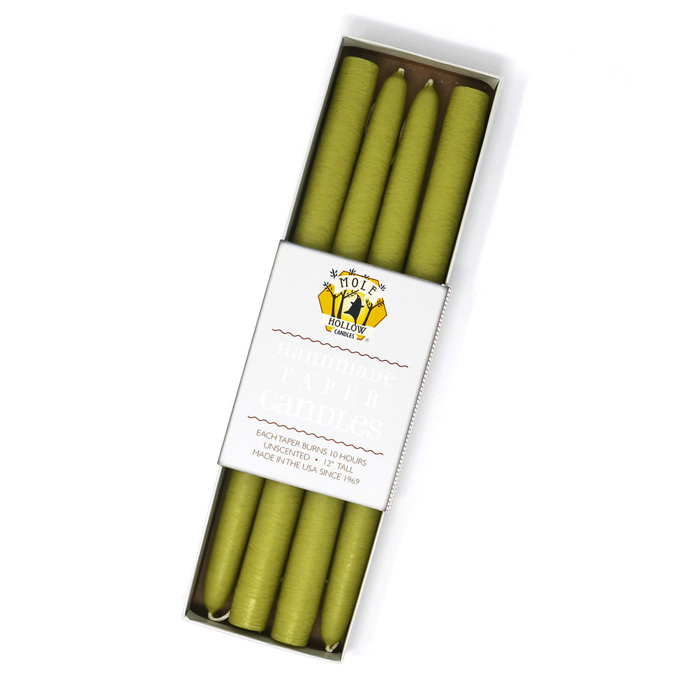 "Load image into Gallery viewer, 12"" Dripless Taper Candles - Granny Smith Green Set of 4"