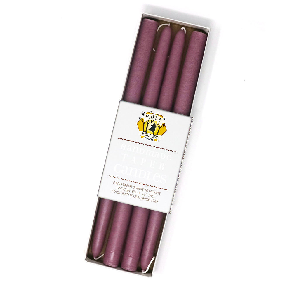 "12"" Dripless Taper Candles - Mauve Set of 4"