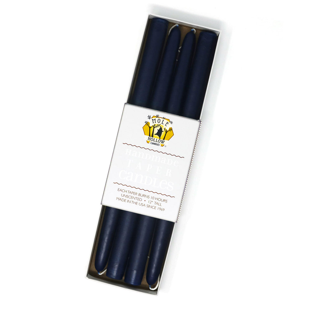 "12"" Dripless Taper Candles - Navy Blue Set of 4"