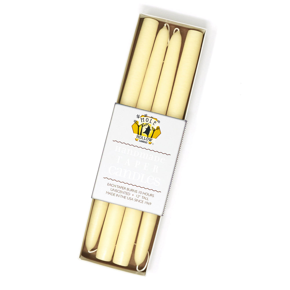 "12"" Dripless Taper Candles - Parchment Set of 4"