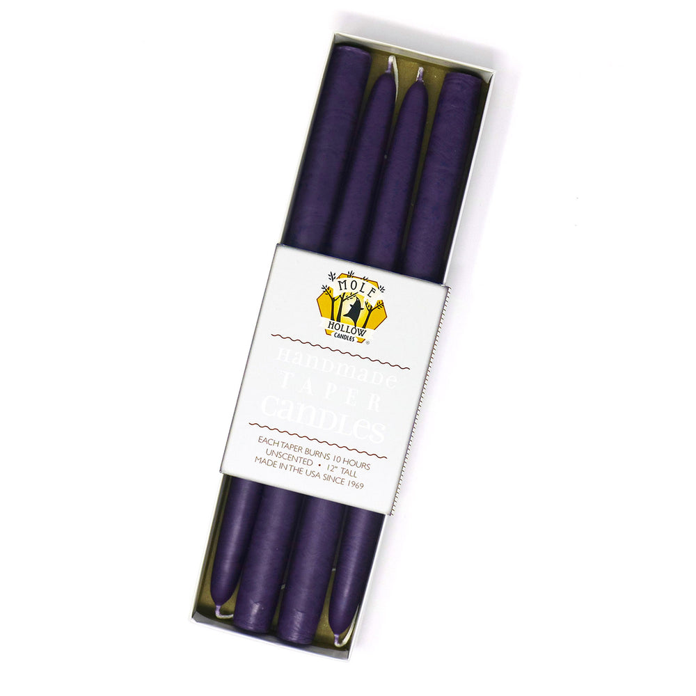"12"" Dripless Taper Candles - Plum Purple Set of 4"