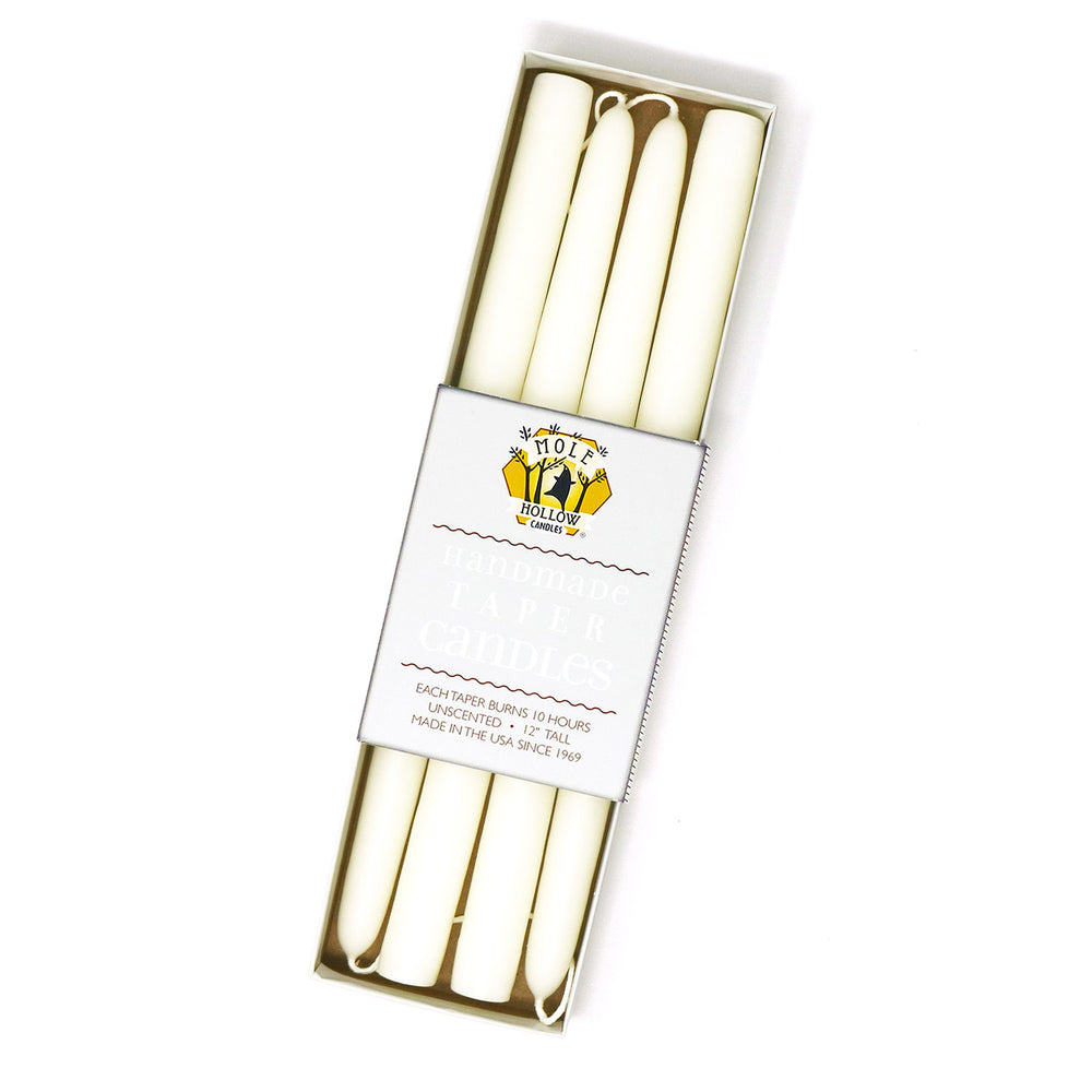 "12"" Dripless Taper Candles - Shell White Set of 4"