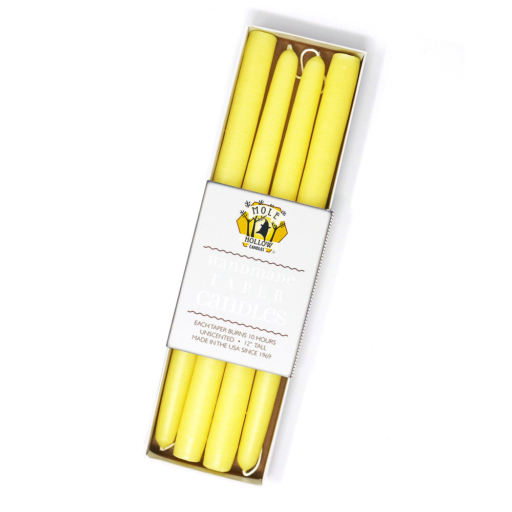 "Load image into Gallery viewer, 12"" Dripless Taper Candles - Sun Yellow Set of 4"