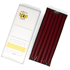 "12"" Dripless Taper Candles - Burgundy Red Unscented - Mole Hollow Candles"