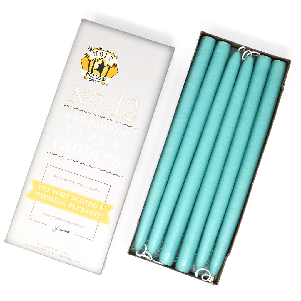 "12"" Dripless Taper Candles - Caribbean Blue Unscented - Mole Hollow Candles"