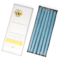 "12"" Dripless Taper Candles - Dusty Blue Unscented - Mole Hollow Candles"