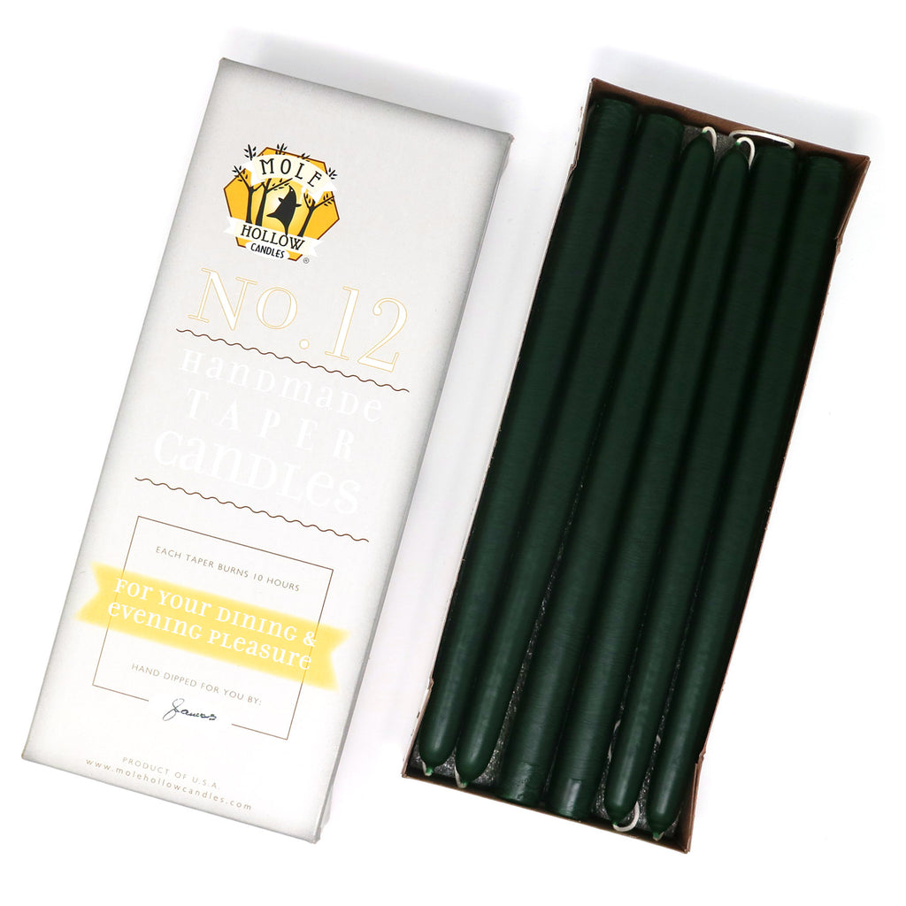 "12"" Dripless Taper Candles - Hunter Green Unscented - Mole Hollow Candles"