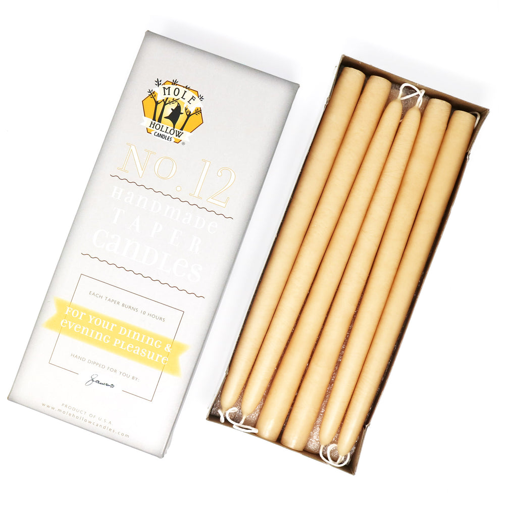"12"" Dripless Taper Candles - Ivory Unscented - Mole Hollow Candles"