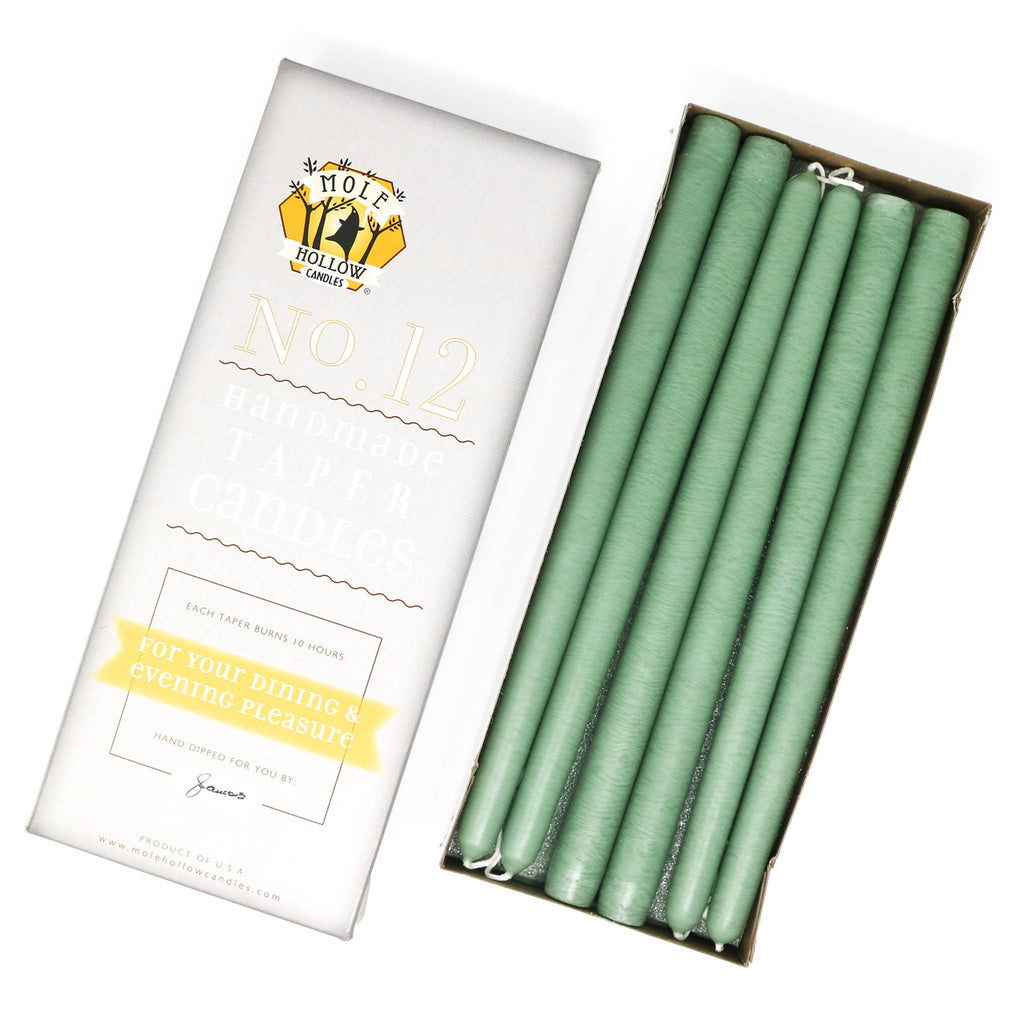 "12"" Dripless Taper Candles - Misty Green Unscented - Mole Hollow Candles"