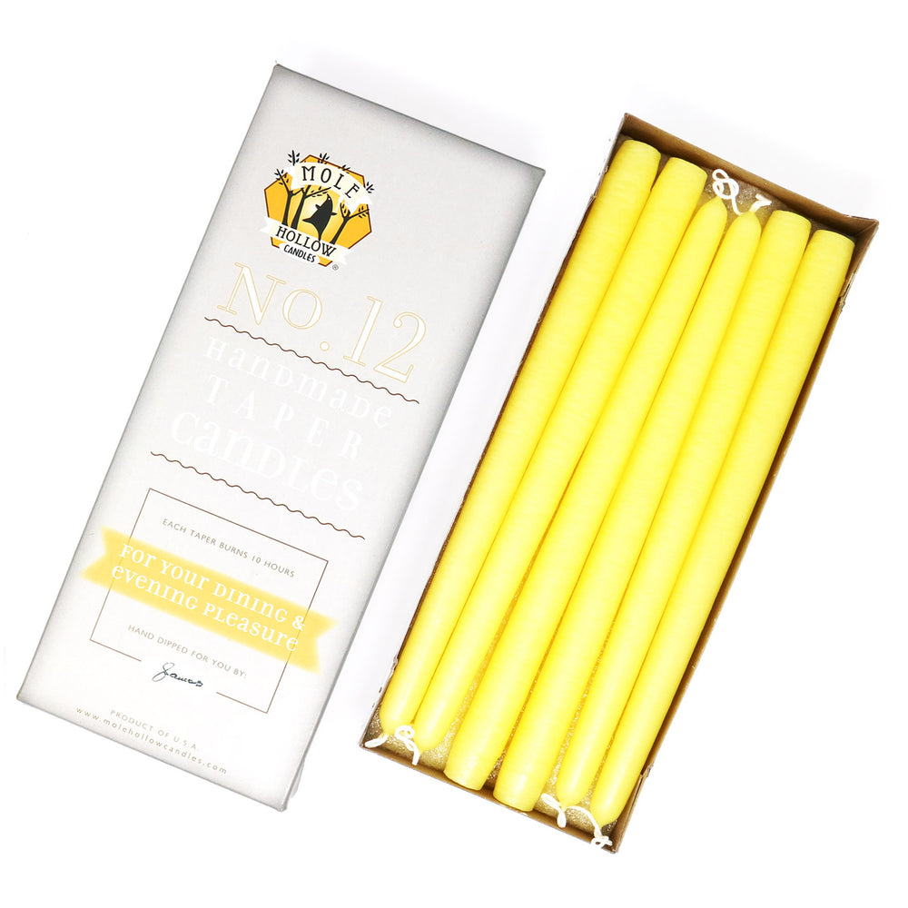 "12"" Dripless Taper Candles - Sun Yellow Unscented - Mole Hollow Candles"