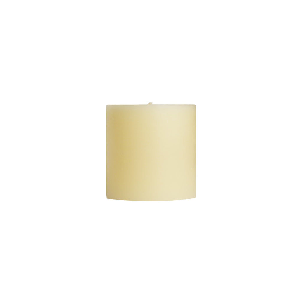 "3x3"" Off White Unscented Pillar Candle - Dripless Pillar Candles - Mole Hollow Candles"