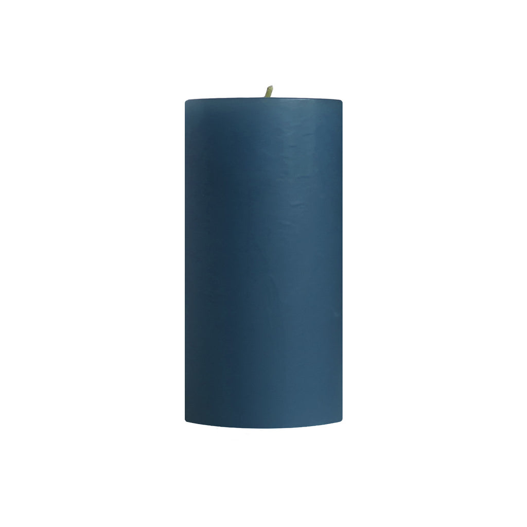 "3x6"" Unscented Colonial Blue Pillar Candle - Dripless Pillar Candles - Mole Hollow Candles"