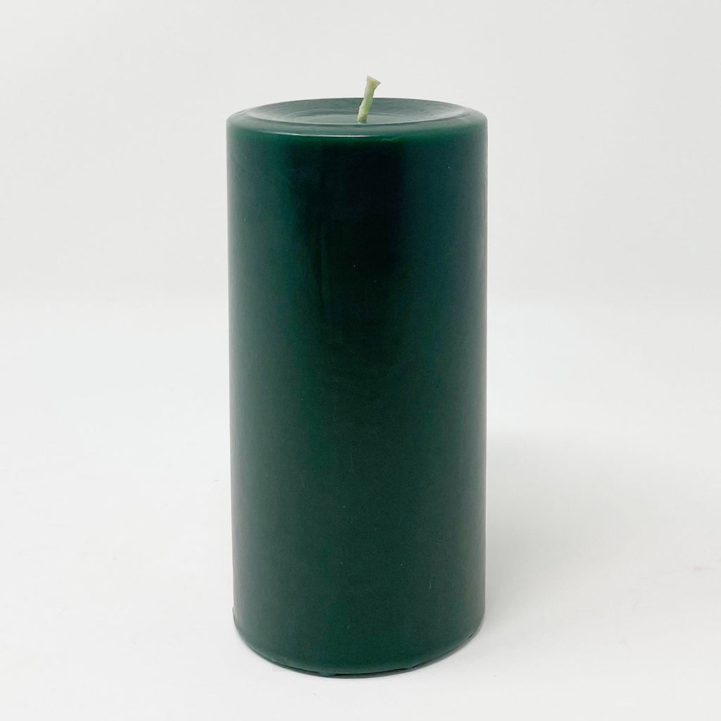 "3x6"" Emerald Green Unscented Pillar Candle - Dripless Pillar Candles - Mole Hollow Candles"