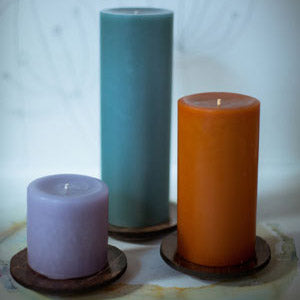 "3x9"" Lavender Scented Pillar Candle - Dripless Pillar Candles - Mole Hollow Candles"