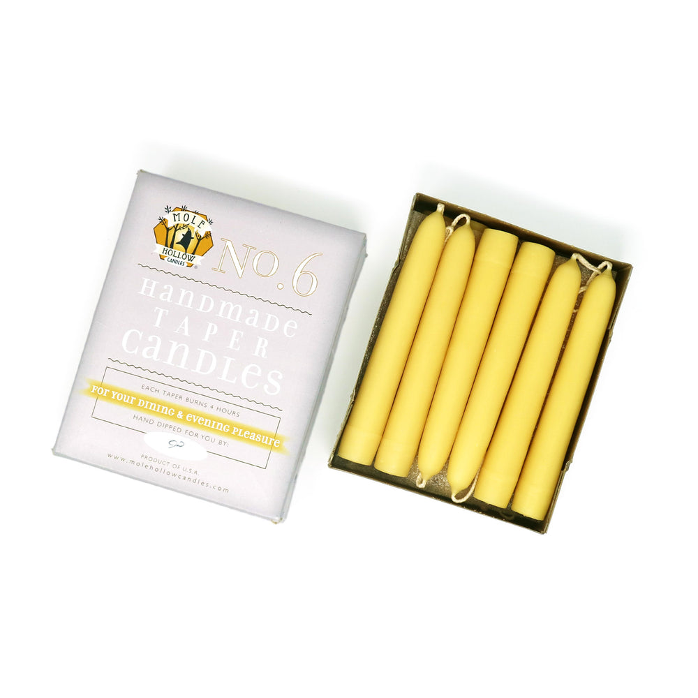 "6"" Natural Beeswax Taper Candles Set of 12 - Mole Hollow Candles"