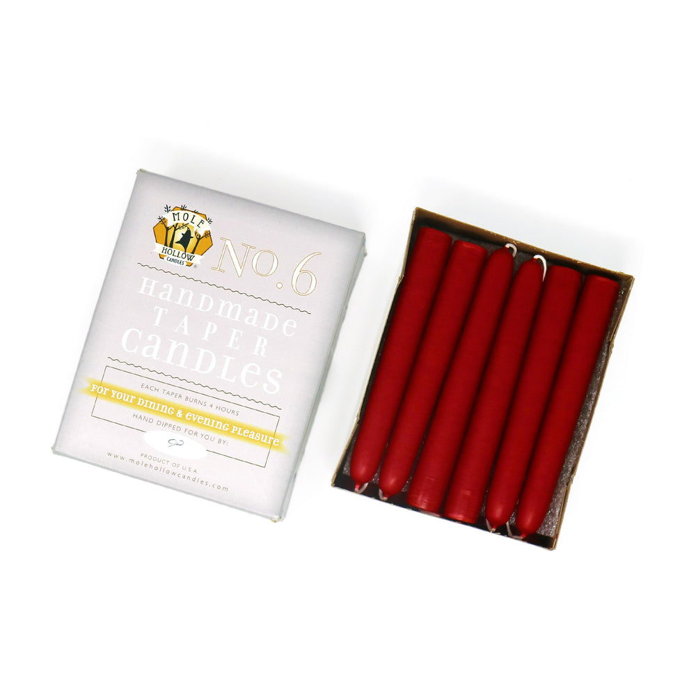 "Load image into Gallery viewer, 6"" Dripless Taper Candles - Unscented Sweetheart Red - Mole Hollow Candles"