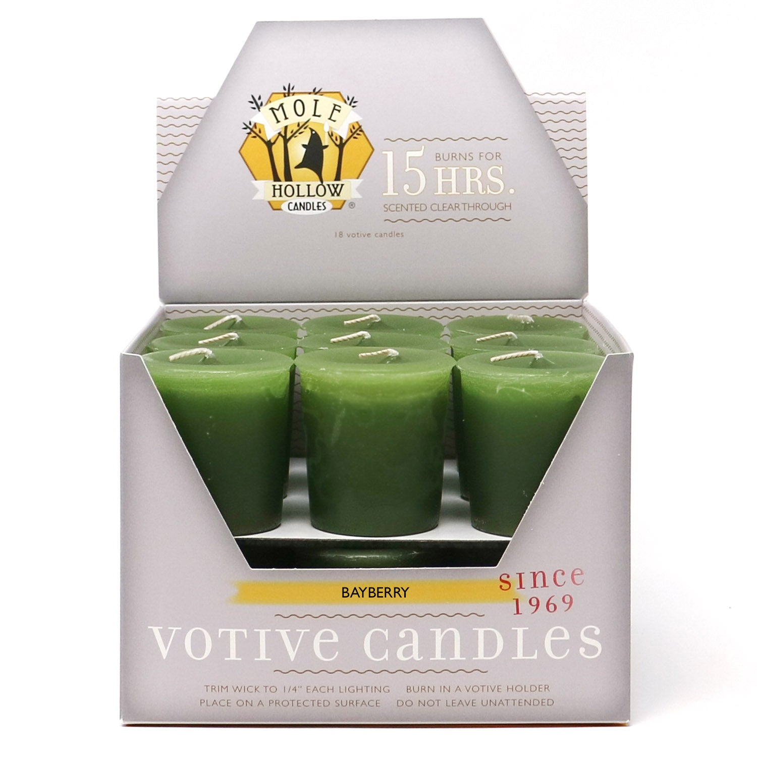 Bayberry Scented Votive Candles - Bayberry Candles - Mole Hollow Candles