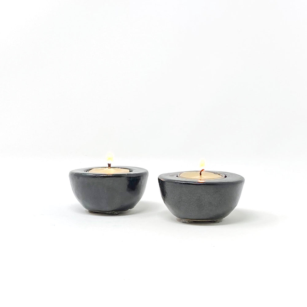 Black Stoneware Tea Light Holders, Set of 2