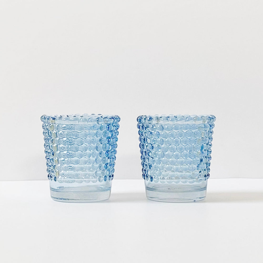 Blue Hobnail Votive Holders, Set of 2