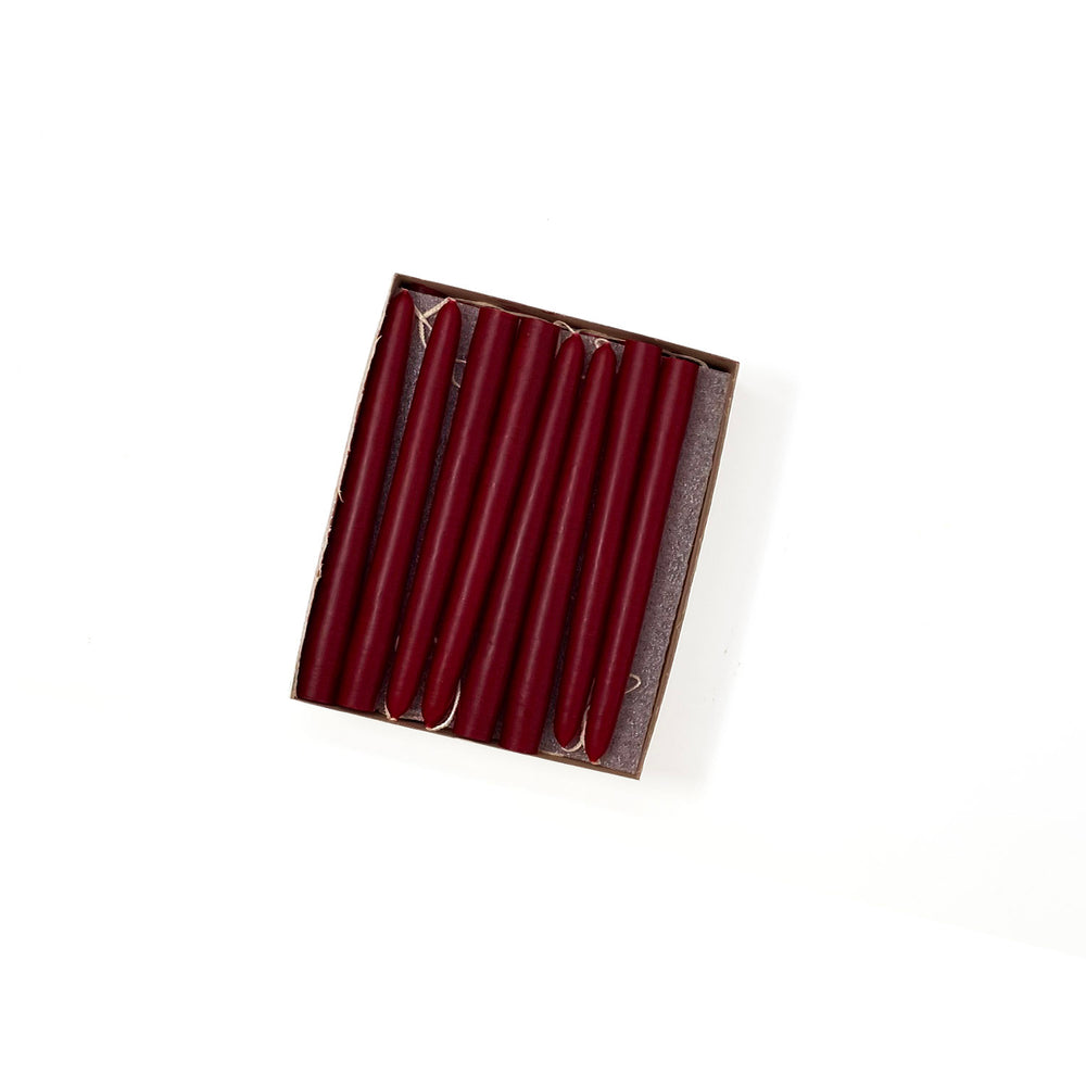"4.5"" Burgundy Red Tiny Taper Candles - Mole Hollow Candles"