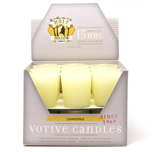 Chamomile Scented Votive Candle -  Yellow Votive Candle - Mole Hollow Candles