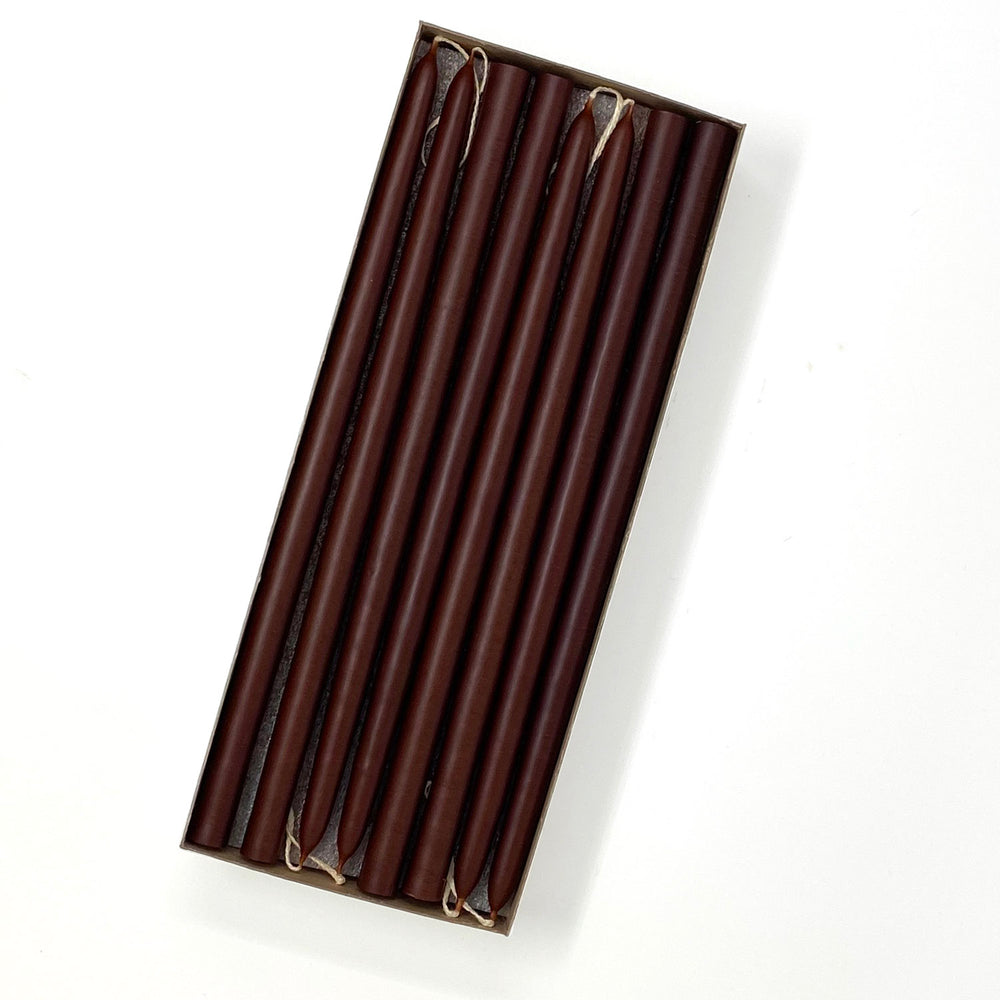 "10"" Chestnut Brown Tiny Taper Candles - Mole Hollow Candles"