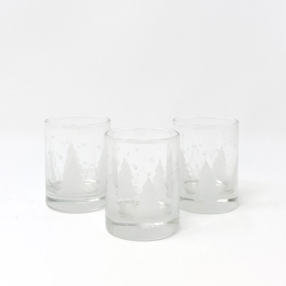 Etched Glass Evergreen Forest Votive Holder