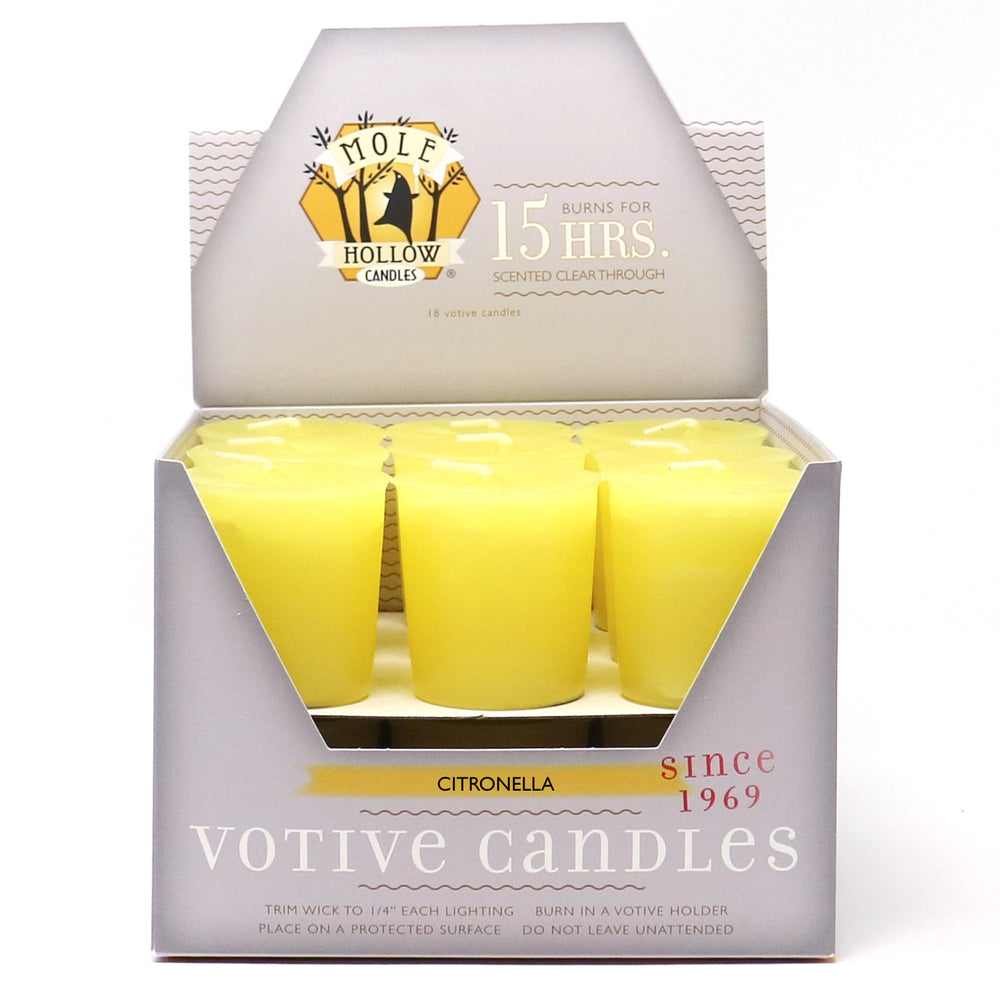 Citronella Scented Votive Candle - Citronella Votives - Mole Hollow Candles