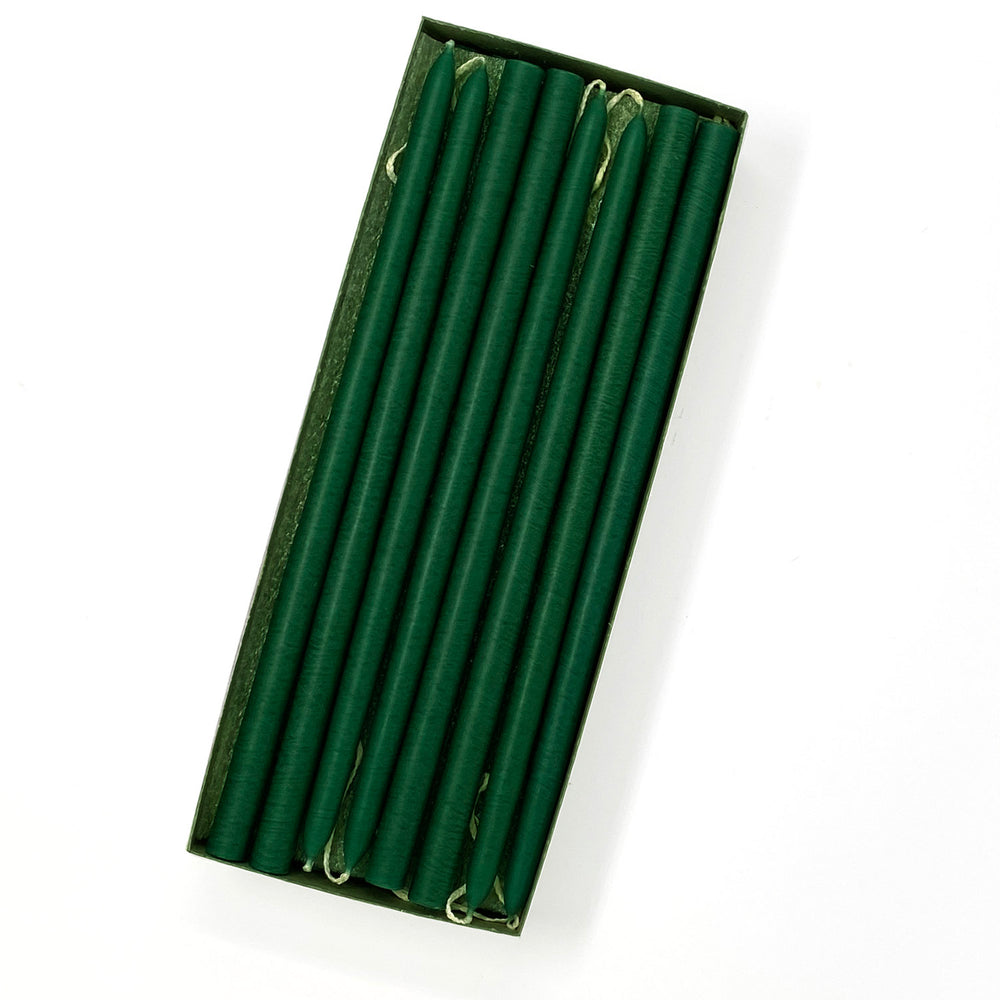 "10"" Emerald Green Tiny Taper Candles - Mole Hollow Candles"