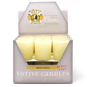 French Vanilla Scented Votive Candle - Off White Votive - Mole Hollow Candles