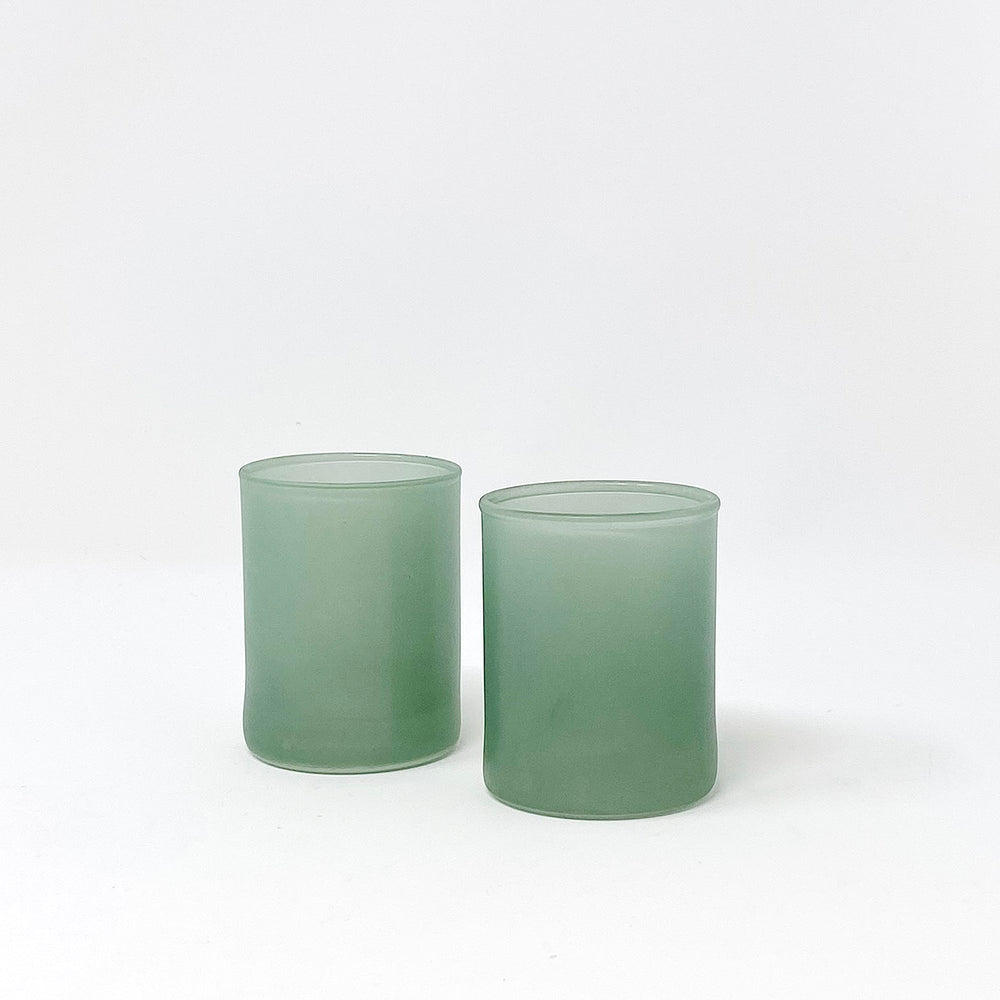 Load image into Gallery viewer, Moss Glass Votive Holders, Set of 2