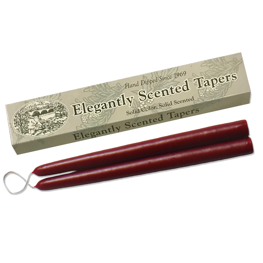 Hollyberry Scented Taper Candles - Christmas Scented Tapers - Mole Hollow Candles