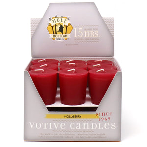 Hollyberry Scented Votive Candle - Christmas Scented Candle - Mole Hollow Candles