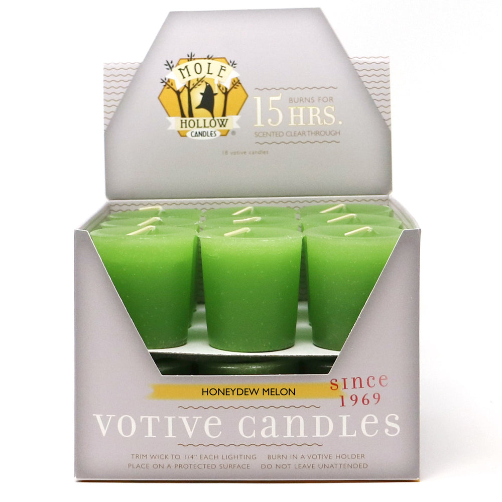 Honeydew Melon Scented Votive Candle - Green Votive - Mole Hollow Candles