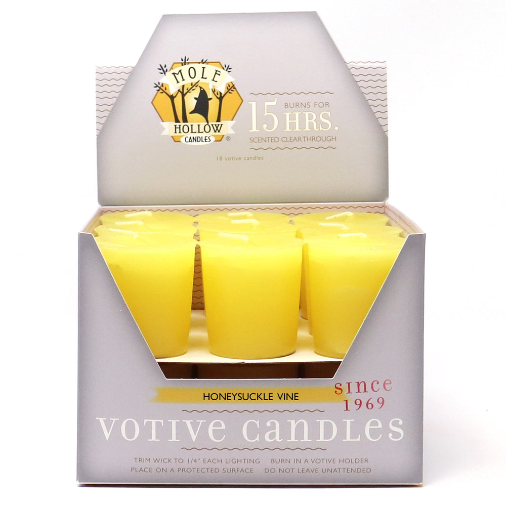 Honeysuckle Vine Scented Votive Candle - Yellow Votives - Mole Hollow Candles