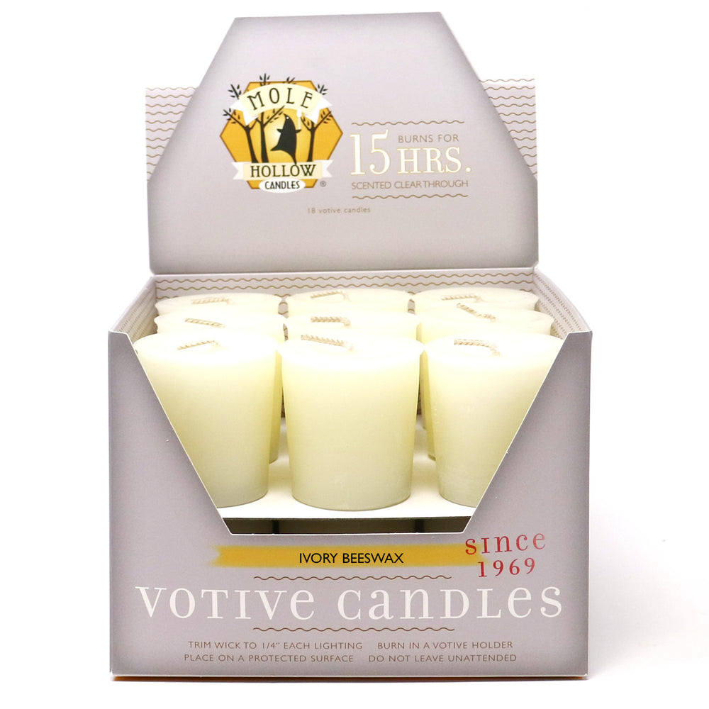 Ivory Beeswax Votive Candles - Natural Beeswax Candles - Mole Hollow Candles