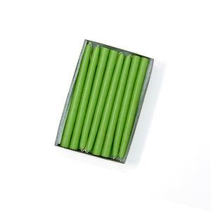 "6"" Lime Green Tiny Taper Candles - Mole Hollow Candles"