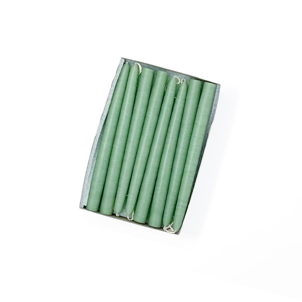 "6"" Misty Green Tiny Taper Candles - Mole Hollow Candles"