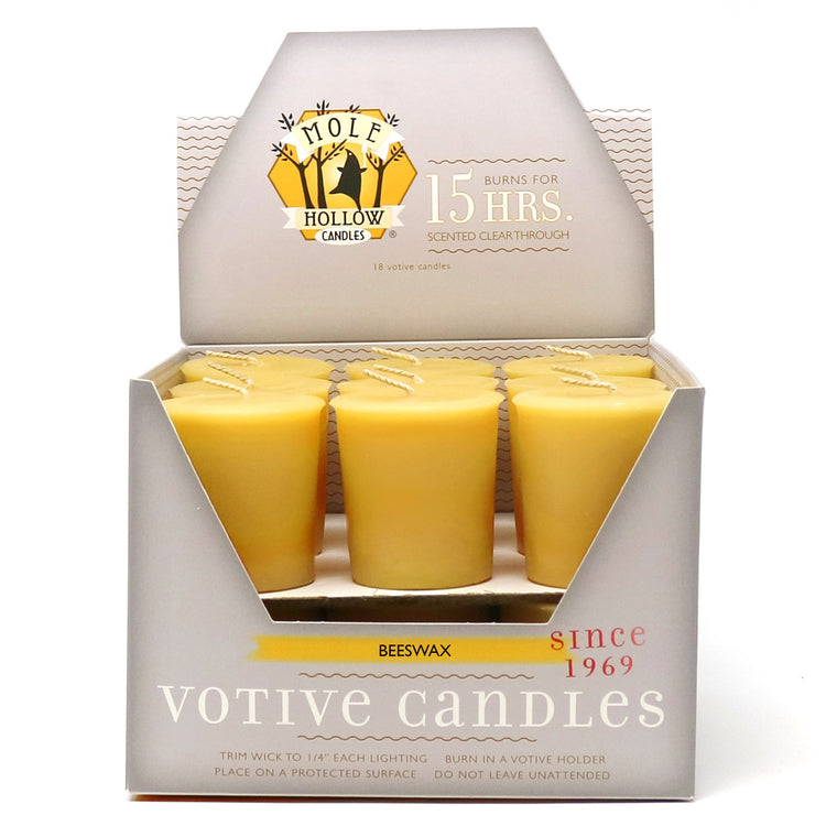 Beeswax Votive Candles, 18 Votives