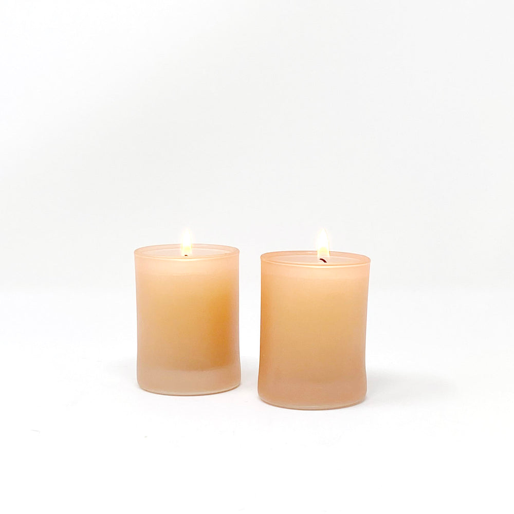 Orange Glass Votive Holders, Set of 2