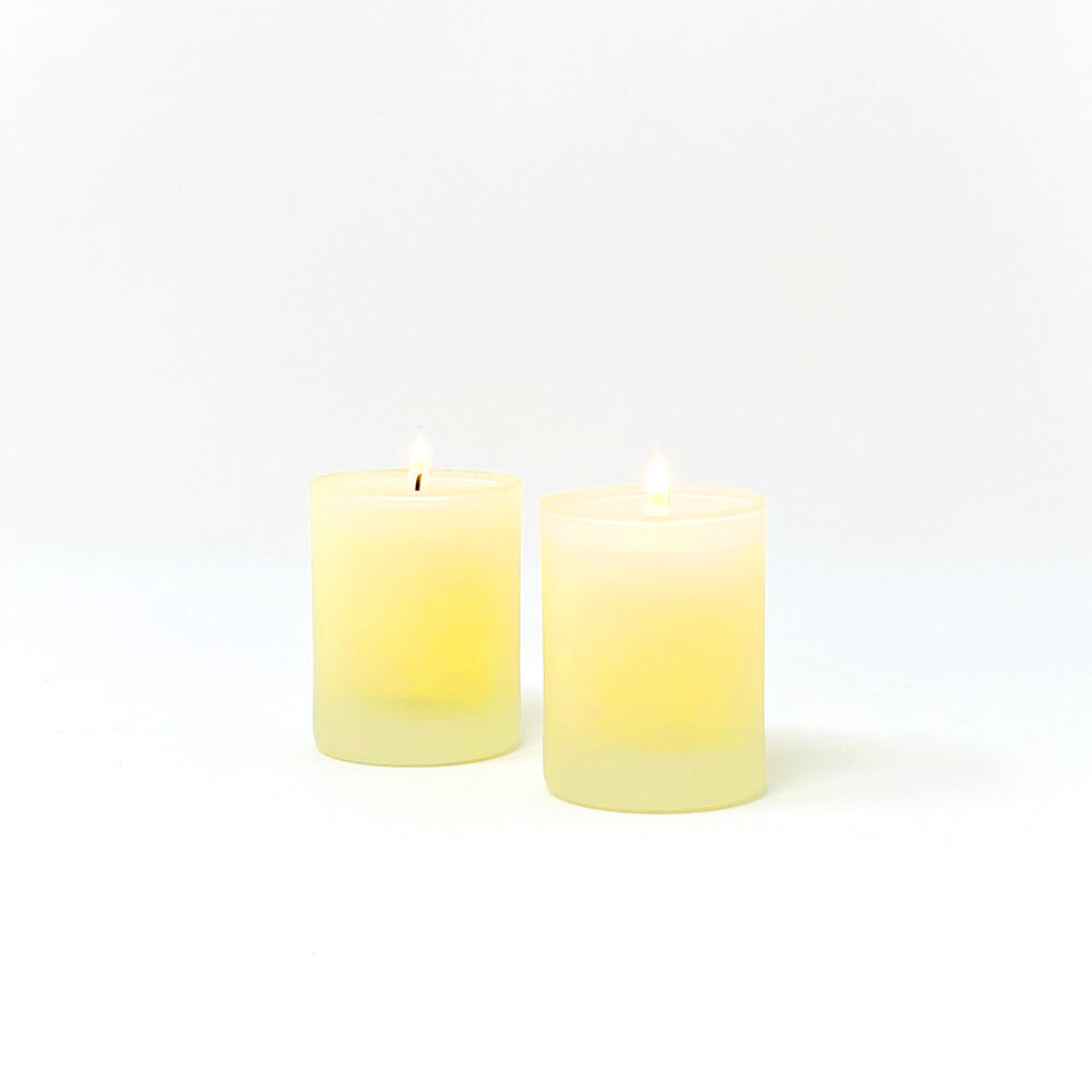 Pale Yellow Glass Votive Holders, Set of 2