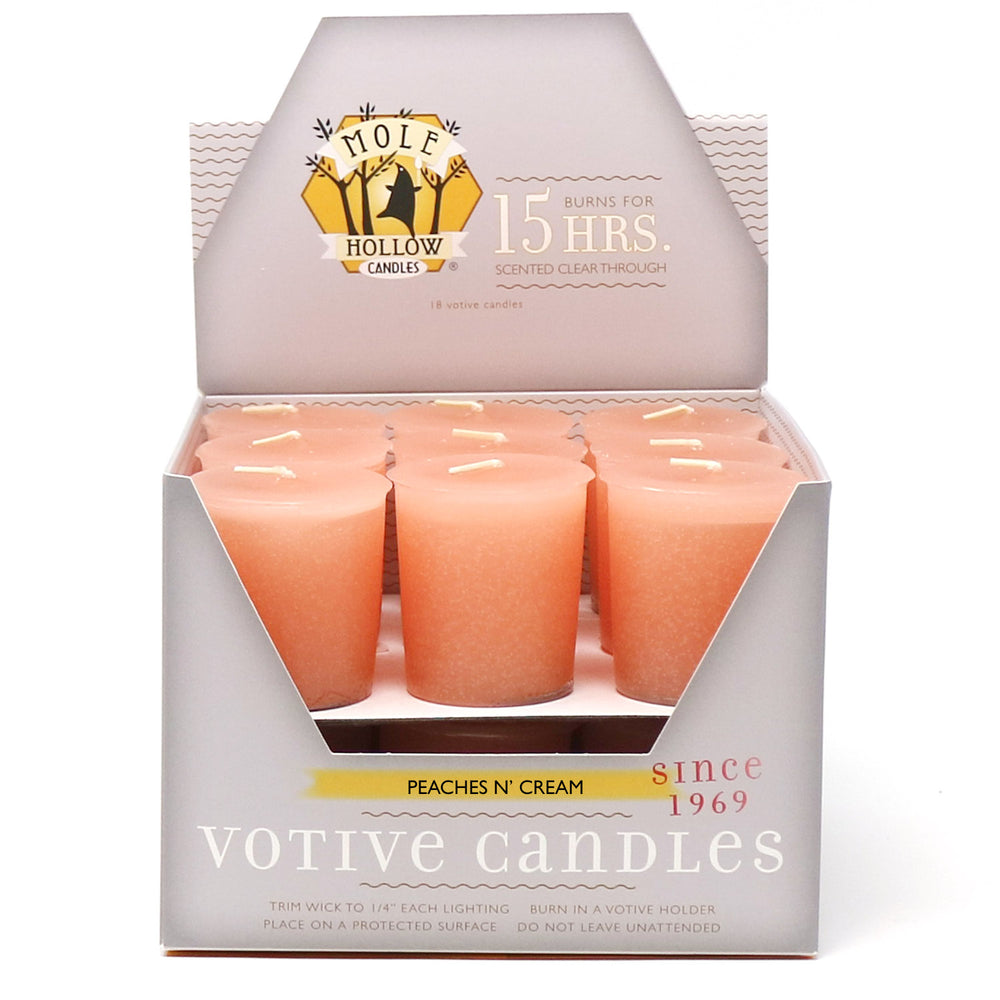 Peaches n' Cream Scented Votive Candle - Pink Votive Candle - Mole Hollow Candles