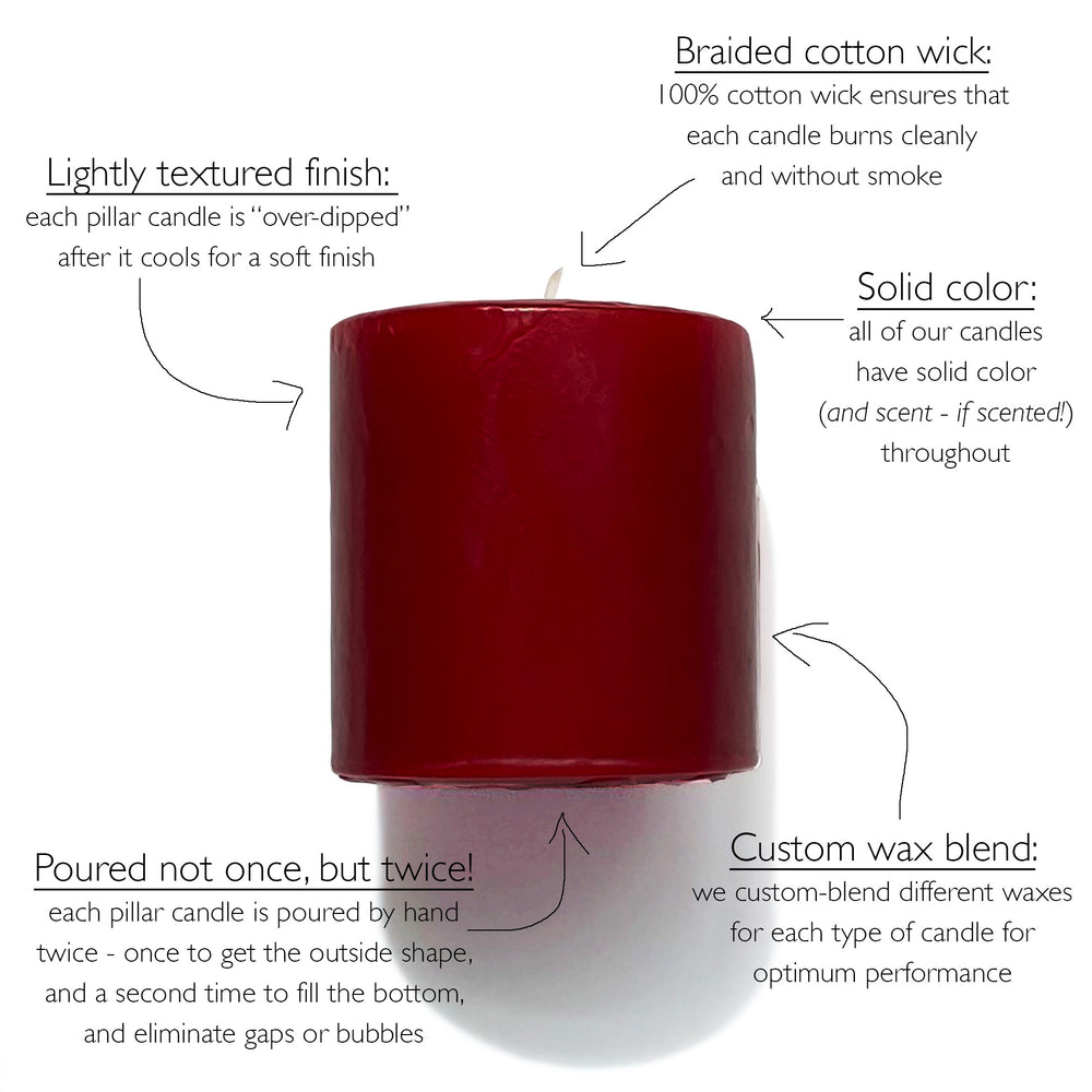 Unscented pillar candles solid color throughout - Mole Hollow Candles