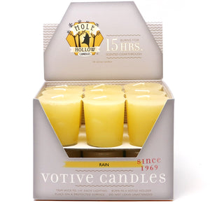 Rain Scented Votive Candle - Yellow Votive Candle - Mole Hollow Candles