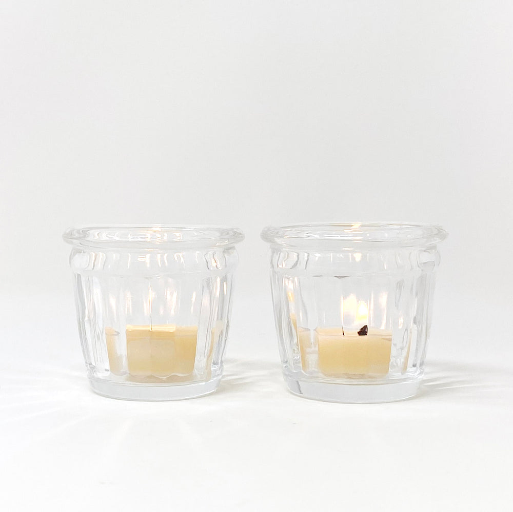 Ribbed Glass Tea Light Holders, Set of 2